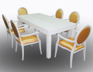 Clement Dining Table with Gold Louis Dining Chair with Arms 1 300x233 - Gold Dior Dining Armchair