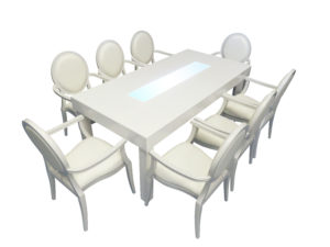 Clement Dining Table with Louis Dining Chairs with Arms 1 300x225 - Clement Dining Table