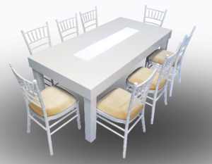 Clement Dining Table with White Chiavari Chairs 1 300x233 - White Chiavari Chair