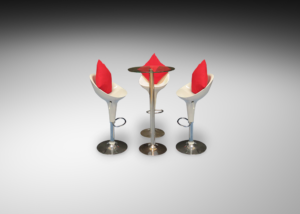 Colada glass cocktail table with madrid acrylic bar stools and red cushions R 1 1 300x214 - Colada Glass Cocktail Table