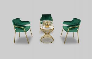 Eleganza Velvet Dining Chair - Green Setup