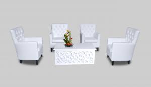 Hala Rectangular Coffee Table with Aristocrat Armchair