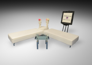 Indiana ottomans with square glass coffee table and cube table and presentation frame and stand 1 300x214 - Breve Square Glass Coffee Table