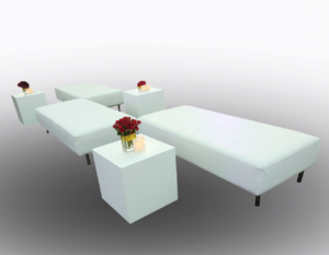 Le Minou Cube with Indiana Ottoman 1 300x233 - Le Minou Low Table