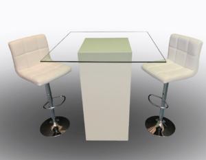 Le Minou Glass Cocktail Table with Seville Bar Stools 1 300x233 - Le Minou Square Glass High Table