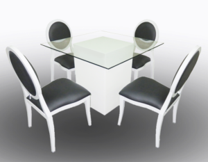 Le Minou Glass Dining Table with Black Louis Dining Chair 2 300x233 - Le Minou Square Glass Dining Table