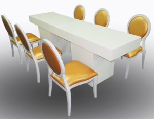 Le Minou Rectangular Dining Table with Gold Louis Dining Chairs 1 300x233 - Le Minou Rectangular Dining Table