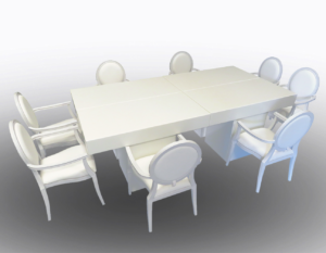 Le Minou Rectangular Dining Tables with Louis Dining Armchairs 1 300x233 - Le Minou Rectangular Dining Table