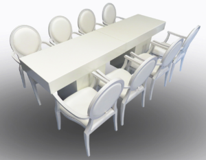 Le Minou Rectangular Dining Tables with Louis Dining Armchairs 2 1 300x233 - Le Minou Rectangular Dining Table