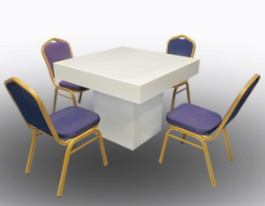 Le Minou Square Dining Table with Banquet Chairs 1 300x233 - Le Minou Square Dining Table