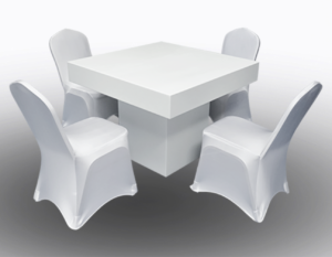 Le Minou Square Dining Table with Banquet Chairs with Cover 1 300x233 - Le Minou Square Dining Table