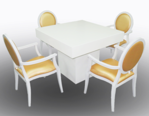 Le Minou Square Dining Table with GOld Louis Dining Chair with Arms 2 1 300x233 - Le Minou Square Dining Table