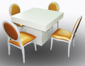 Le Minou Square Dining Table with Gold Louis Dining Chair 1 1 300x233 - Le Minou Square Dining Table