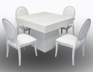 Le Minou Square Dining Table with Louis Dining Chairs 1 1 300x233 - Le Minou Square Dining Table