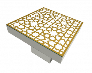 Le Minou Square Dining Table with Mashrabiya Table Top Metallic gold mashrabiya pattern printed on vinyl sticker. 1 300x239 - Le Minou Square Dining Table with Mashrabiya Table Top