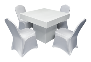 Le Minou Square Dining Table with Stewart Banquet Chair with Cover Set Up 1 300x206 - Stewart Banquet Chair White Stretch Cover