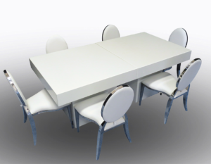 Le Minou Square Dining Tables with Chrome Dior Chairs 1 300x233 - Le Minou Square Dining Table