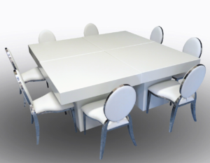 Le Minou Square Dining Tables with Chrome Dior Chairs 3 1 1 300x233 - Le Minou Square Dining Table