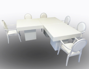 Le Minou Square Dining Tables with Louis Dining Armchairs 1 1 300x233 - Le Minou Square Dining Table