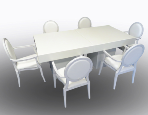 Le Minou Square Dining Tables with Louis Dining Armchairs 2 1 300x233 - Le Minou Square Dining Table