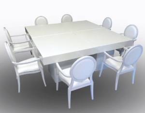 Le Minou Square Dining Tables with Louis Dining Armchairs 3 2 1 300x233 - Le Minou Square Dining Table