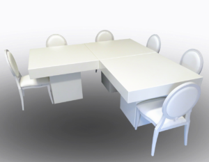 Le Minou Square Dining Tables with Louis Dining Chairs 1 1 300x233 - Le Minou Square Dining Table