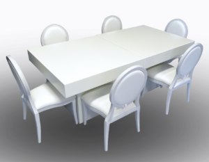Le Minou Square Dining Tables with Louis Dining Chairs 2 1 300x233 - Le Minou Square Dining Table