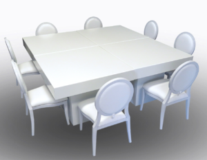 Le Minou Square Dining Tables with Louis Dining Chairs 4 1 300x233 - White Dior Dining Chair