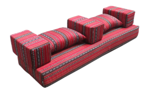 Low Arabic Seating Pattern 1 with Armrest and Cushions 4 300x193 - Low Majlis Cushion