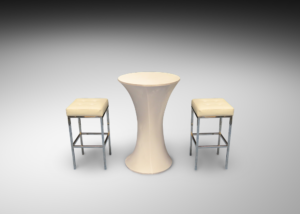 Lycra Cocktail Table with Barcelona Bar Stools 2 300x214 - Lycra Cocktail Table