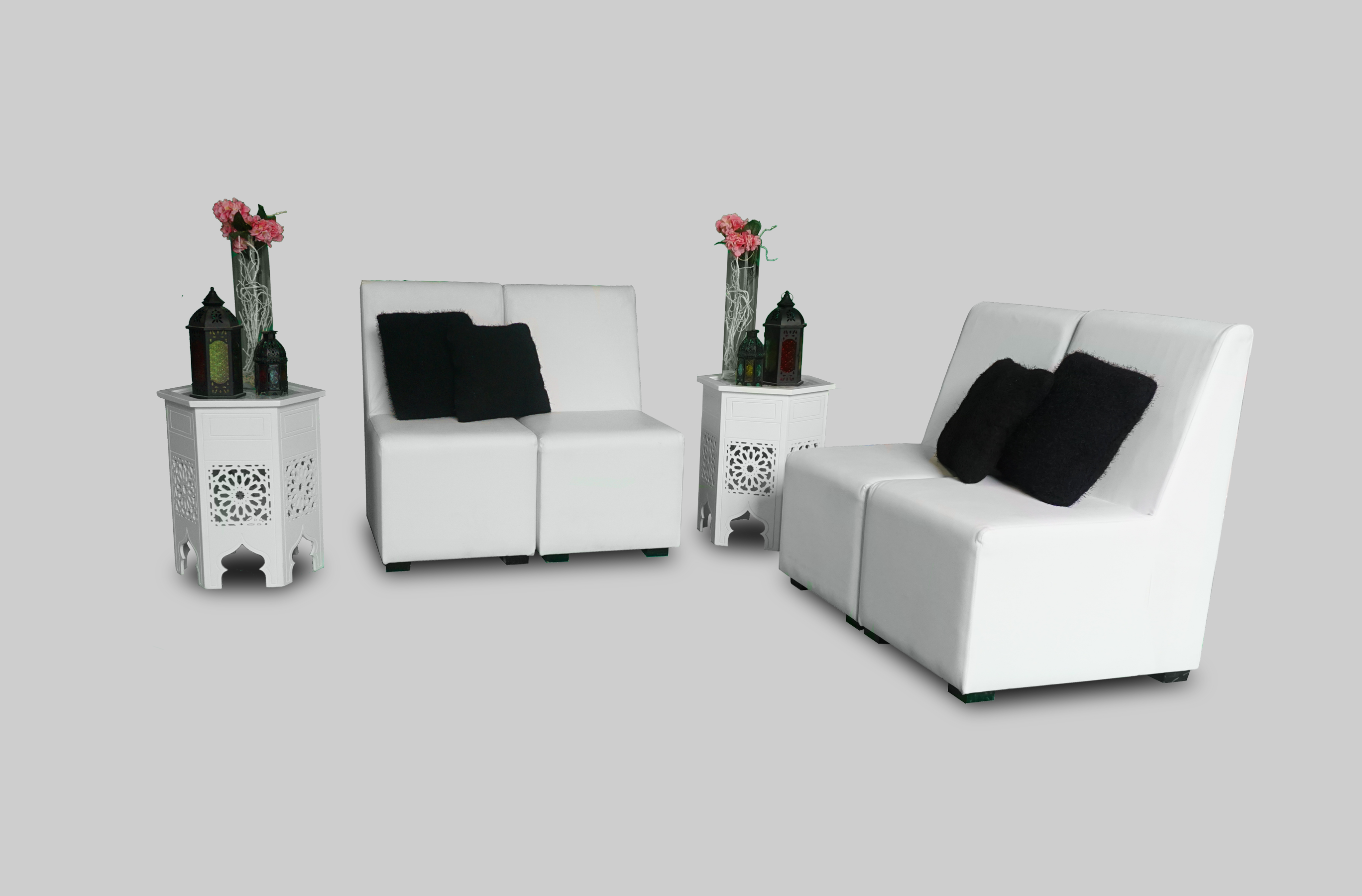 Madina White Coffee Table Areeka Event Rentals