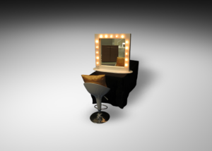 Madrid acrylic bar stool with dressing mirror with lights and gold cushion 1 300x214 - Desmond Dressing Mirror