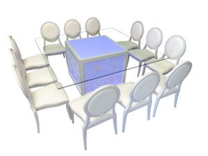 Mashrabiya Dining Table with Louis Dining Chair 2 1 1 300x225 - Emir Mashrabiya Square Glass Dining Table