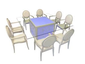 Mashrabiya Dining Table with Louis Dining Chair 2 2 300x225 - Emir Mashrabiya Square Glass Dining Table