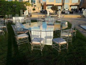 Mashrabiya Round Dining Table Set Up 1 2 300x225 - Clear Acrylic Chiavari Chair