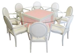 Mashrabiya Round Glass Dining Table with Dior Dining Armchairs 2 300x214 - White Dior Dining Armchair