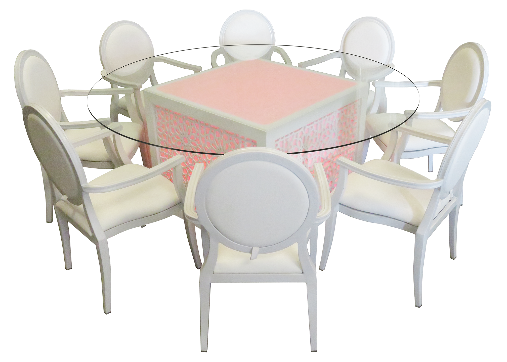 Small Round Glass Dining Table And 2 Chairs: Mashrabiya Round Glass Dining Table For Sale Or Rent In