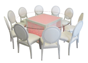 Mashrabiya Round Glass Dining Table with Dior Dining Chairs 300x214 - White Dior Dining Chair