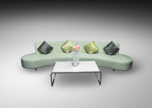 Oasis double sofa with kensington rectangular coffee table and silver and gold cushions 1 300x214 - Oasis Double Sofa