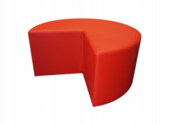 red pouffe, red ottoman, red chair