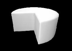 white pouffe, white ottoman, lounge seating