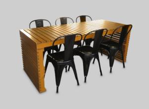 Pauchard Chair Black with Braun Pallet Dining Table setup 1 300x219 - Pauchard Metal Chair - Black