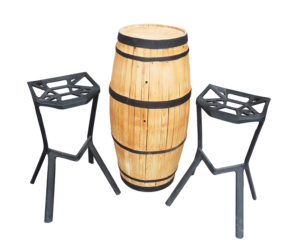 Provinzia Wooden Cocktail Table Setup 2 300x243 - Provinzia Wooden Barrel Cocktail Table