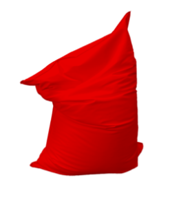 red bean bag, low seating, floor seating