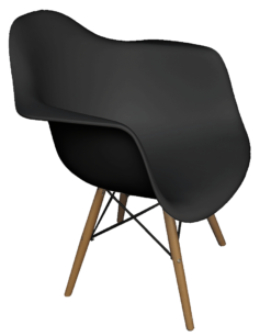 black plastic armchair, black eames chair, armchair