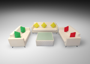 Sophie 2 and 3 seater sofas with royal windsor square coffee table and green yellow and red cushions 1 300x214 - Royal Windsor Square Coffee Table