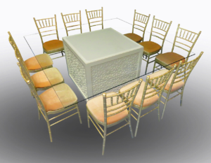 Unlit Mashrabiya Dining Table with Champagne Chiavari Chairs 1 300x233 - Champagne Chiavari Chair