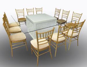 Unlit Mashrabiya Dining Table with Gold Chiavari Chairs 1 300x233 - Gold Chiavari Chair