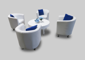 avalon chic round white coffee table setup with bucket chairs 2 1 300x211 - Avalon Chic Round White Coffee Table