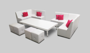 avalon coffee table setup with chameleons and pouffes 1 300x178 - Avalon Grand White Coffee Table